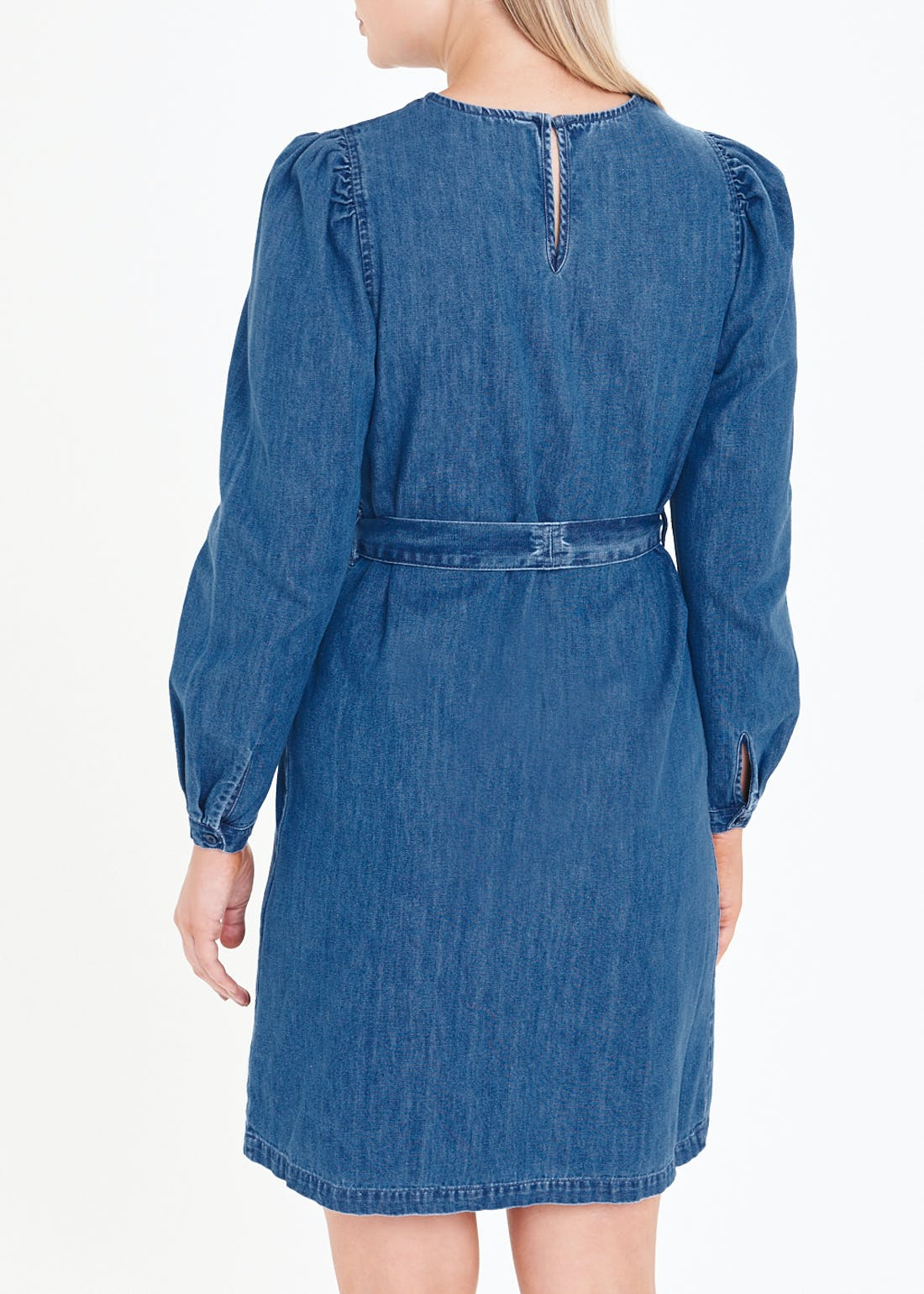 Puff Sleeve Denim Dress