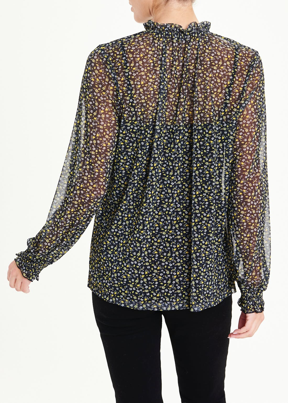 Sheer Floral High Neck Blouse
