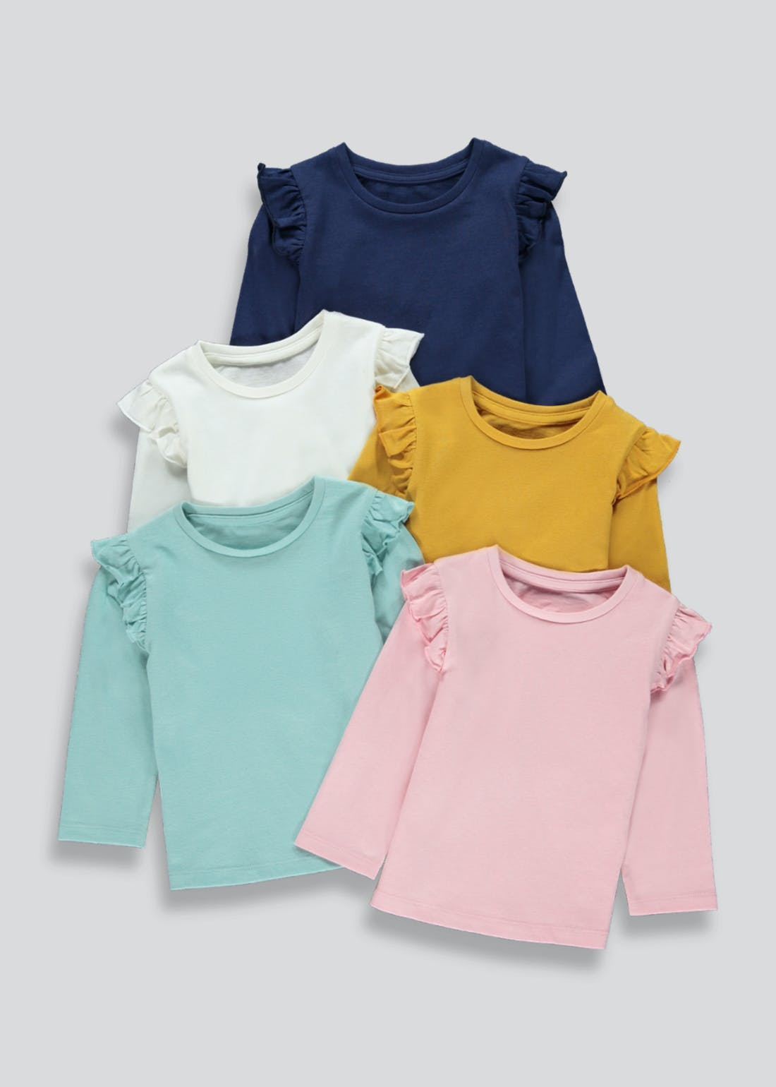 Girls 5 Pack Long Sleeve Tops (9mths-6yrs)