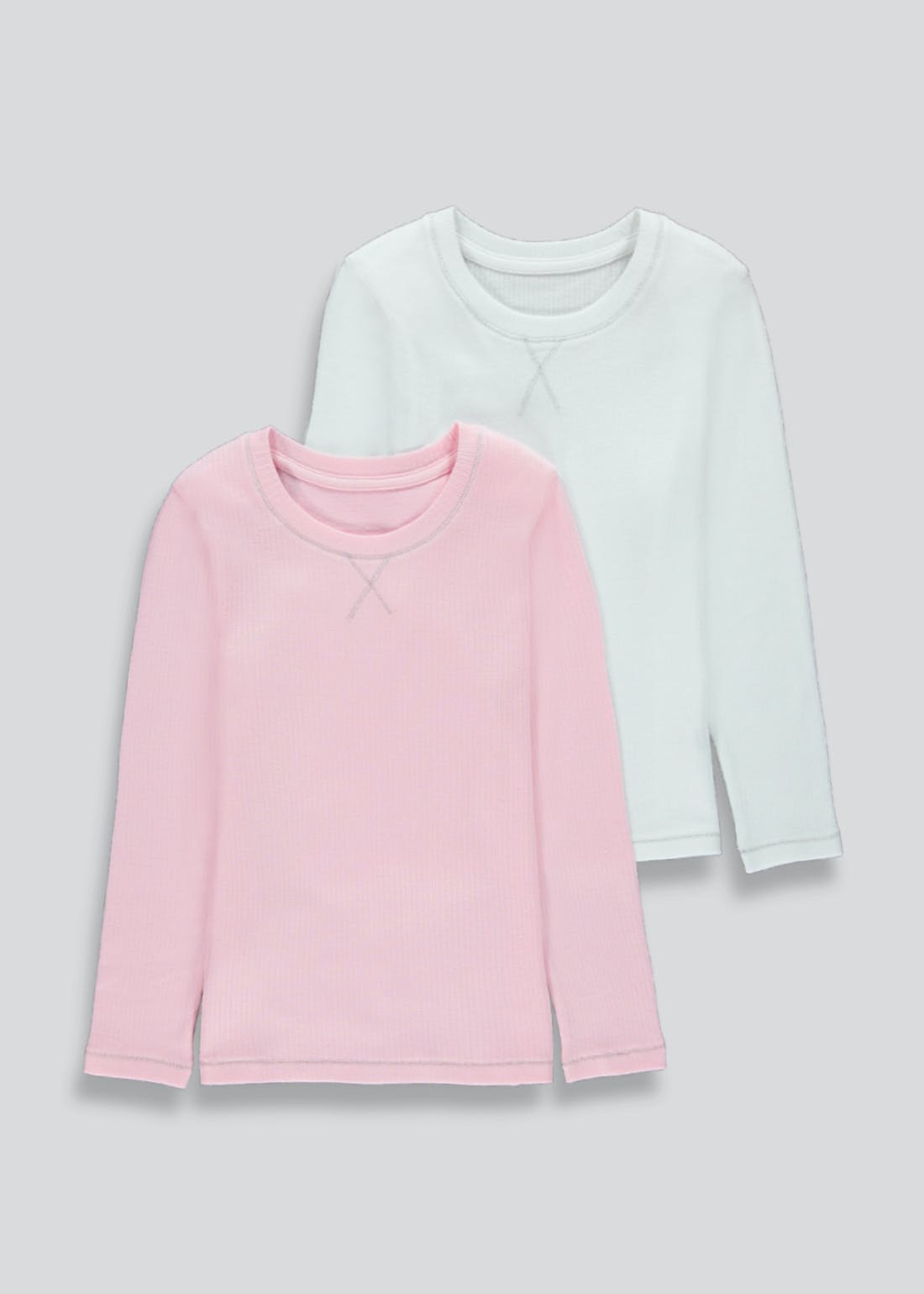 Girls 2 Pack Long Sleeve Thermal Vests (2-13yrs)