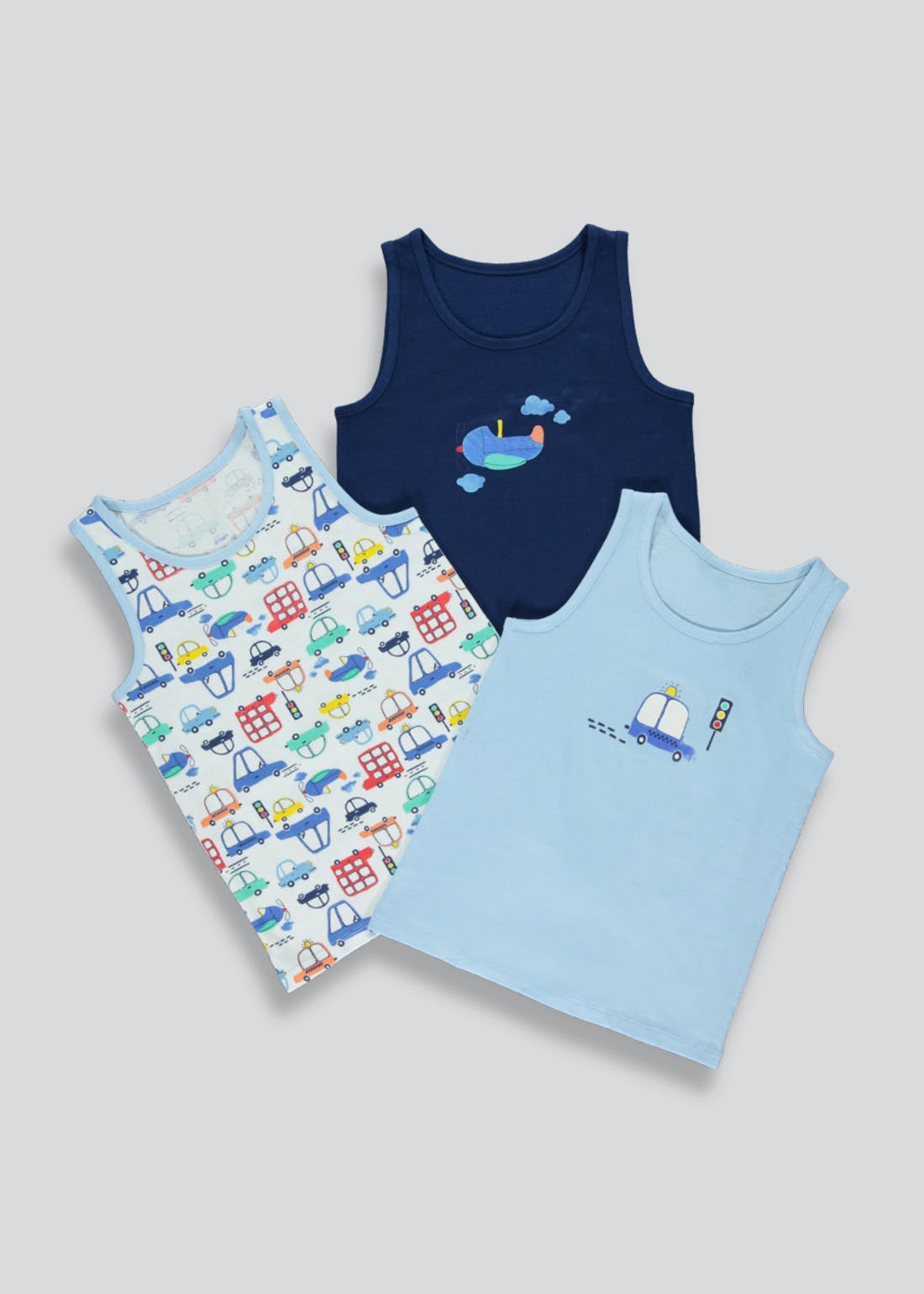 Boys 3 Pack Car Print Vests (2-13yrs)