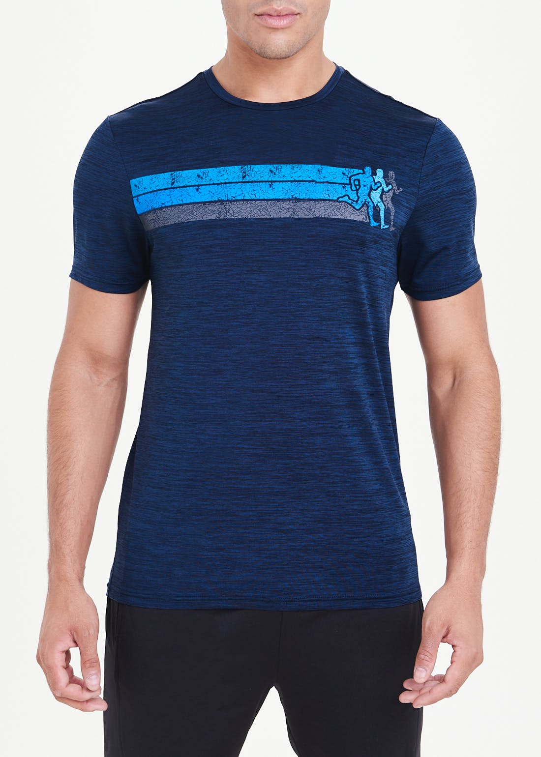Souluxe Navy Running Print Gym Top