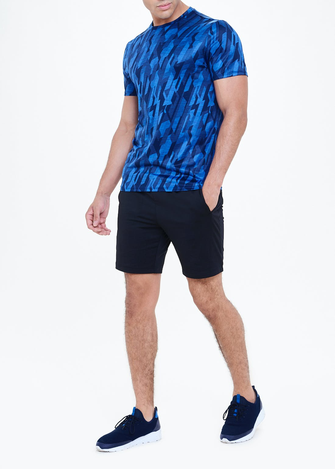 Souluxe Blue Printed Gym T-Shirt
