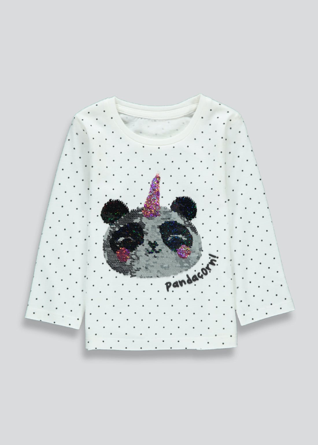 Girls Long Sleeve Sequin Panda T-Shirt (9mths-6yrs)