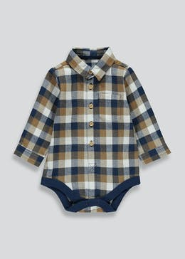 Boys Check Cotton Bodysuit (Tiny Baby-18mths)