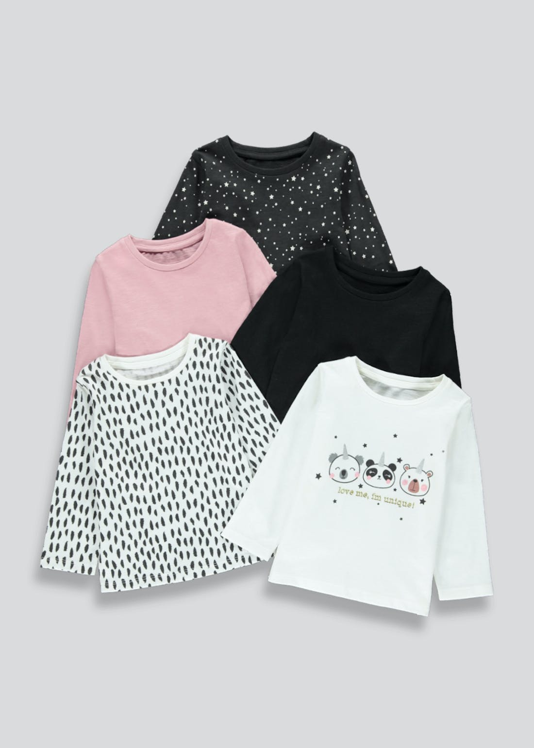 Girls 5 Pack Panda Print Tops (9mths-6yrs)
