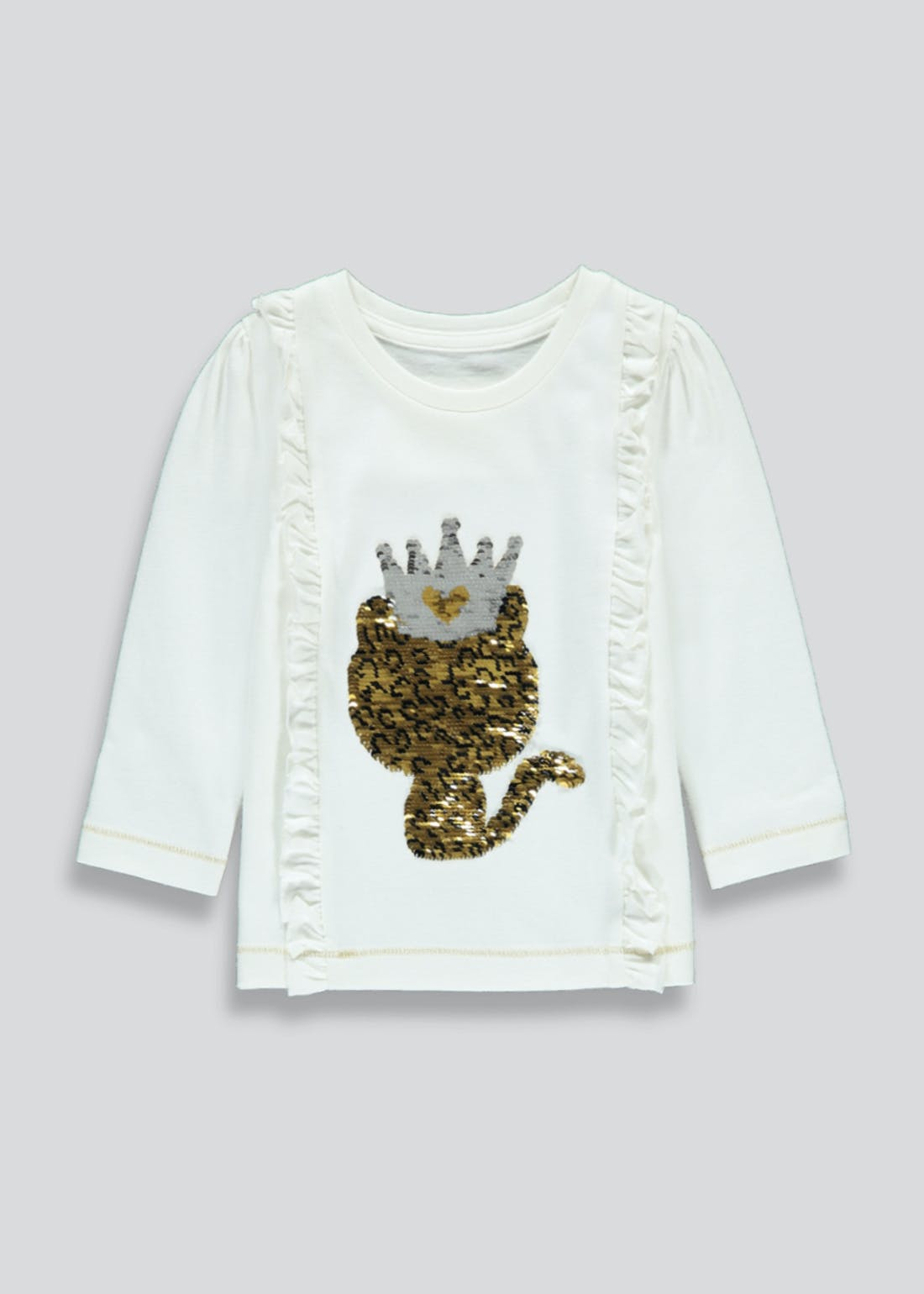 Girls Long Sleeve Flippy Sequin Leopard T-Shirt (9mths-6yrs)