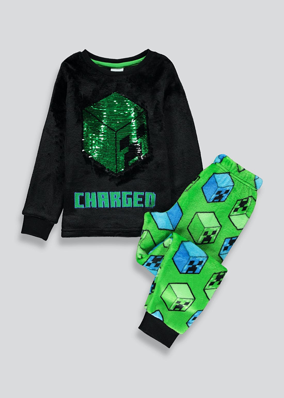 Kids Minecraft Flippy Sequin Fleece Pyjama Set (6-12yrs)