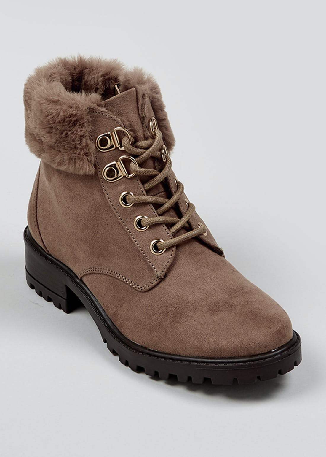 Girls Taupe Faux Fur Hiker Boots (Younger 10-Older 5)