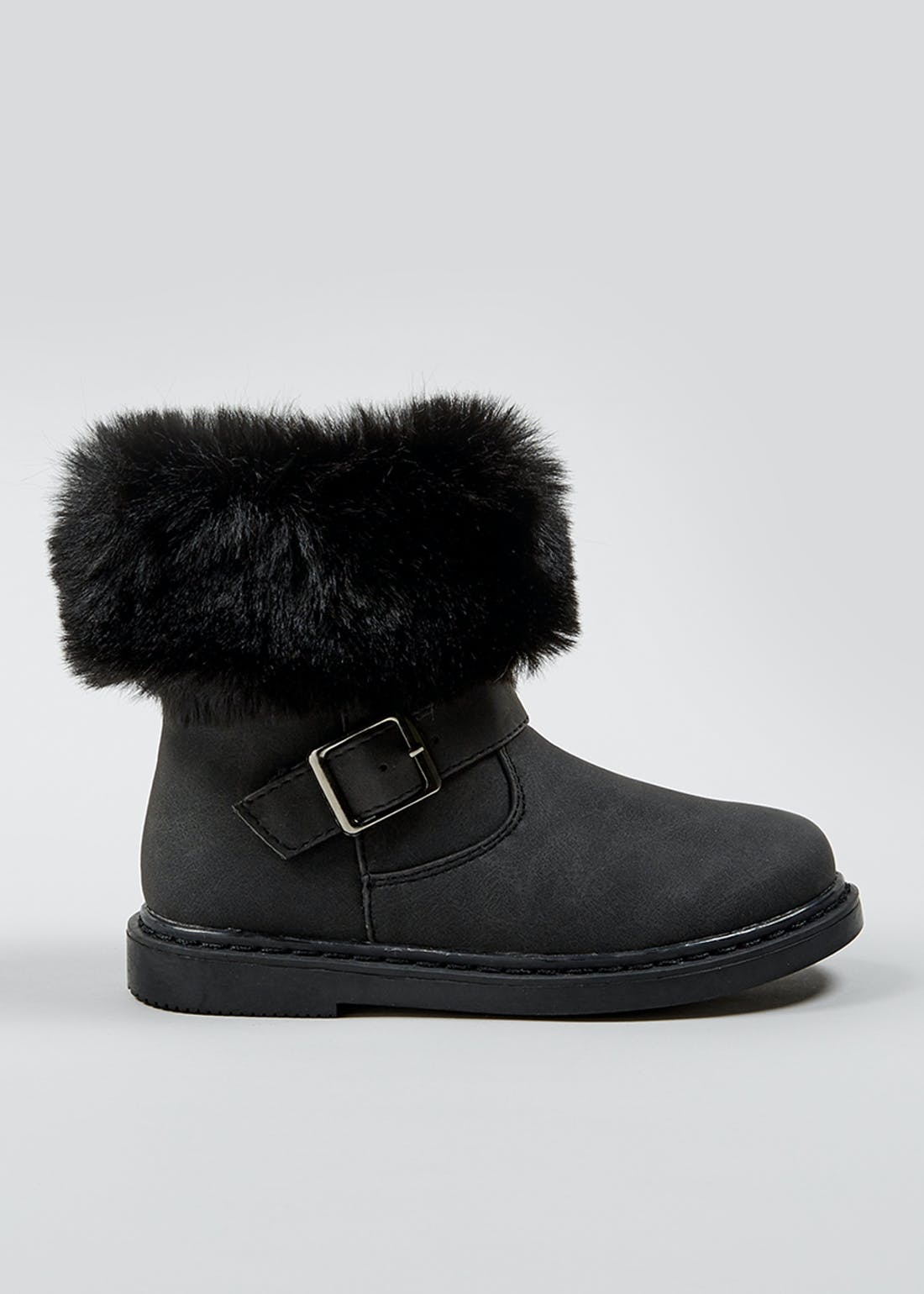 Girls Black Faux Fur Trim Boots (Younger 4-12)
