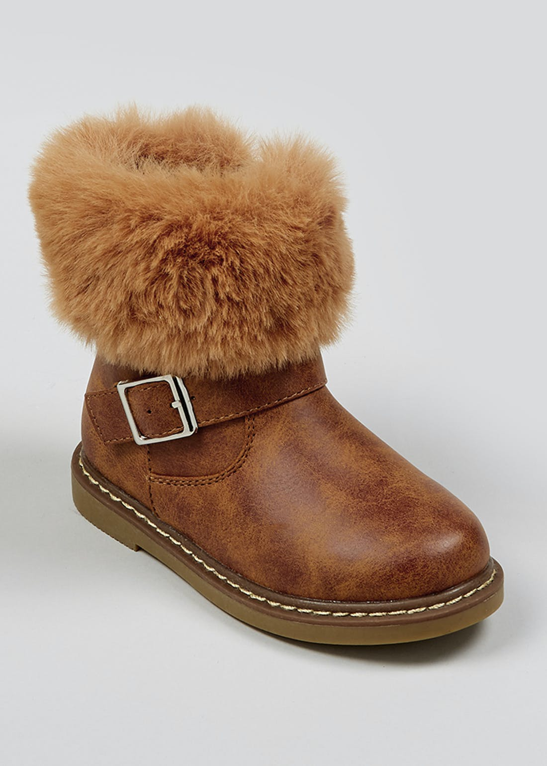 Girls Tan Faux Fur Trim Boots (Younger 4-12)