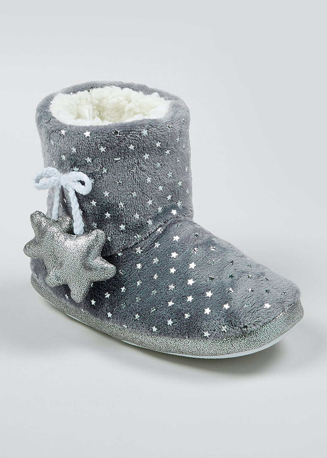 Grey Fluffy Star Slipper Boots