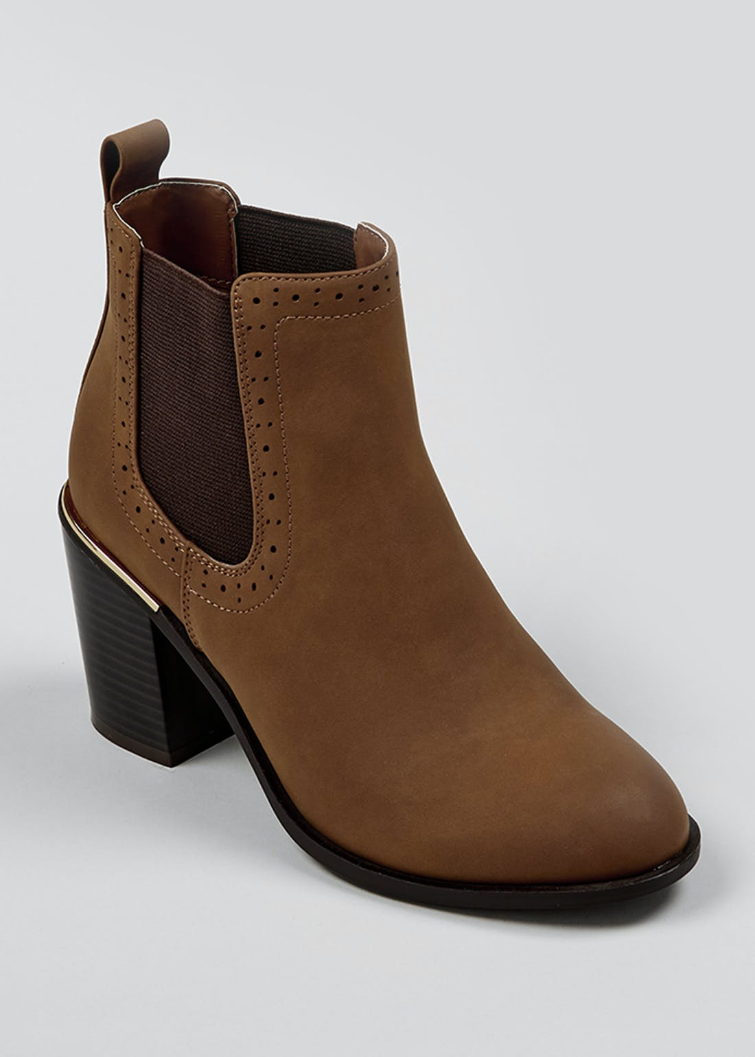 Brown Gold Trim Block Heel Boots