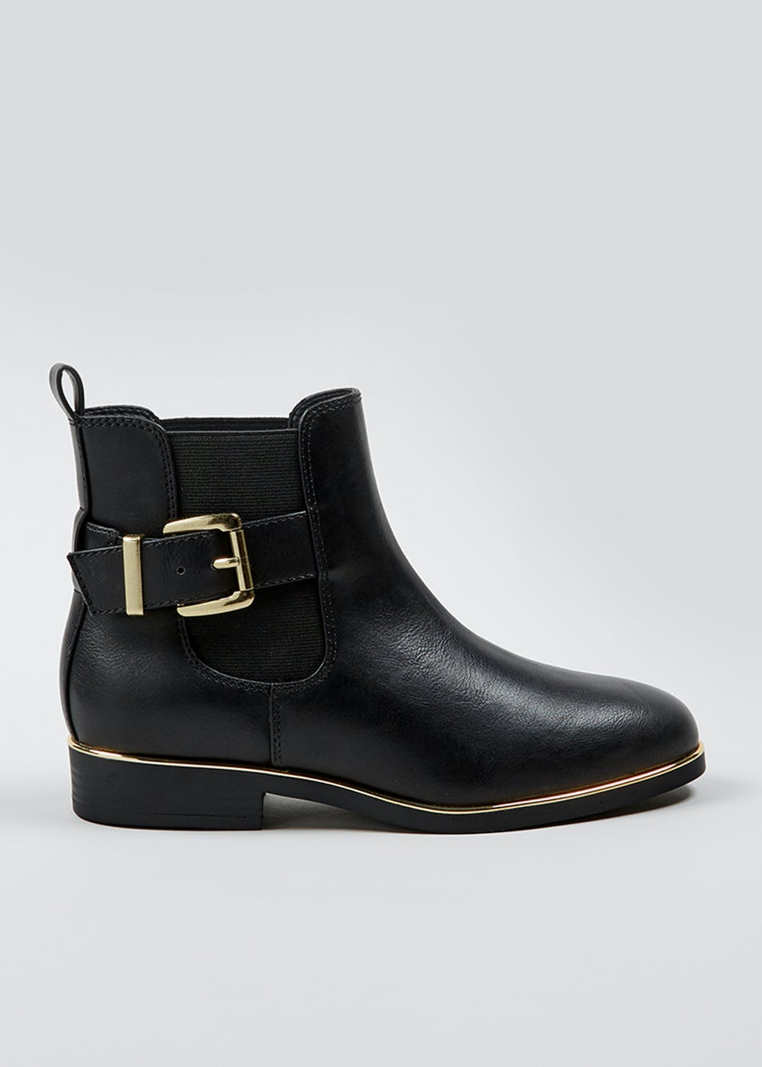Black Gold Trim Ankle Boots