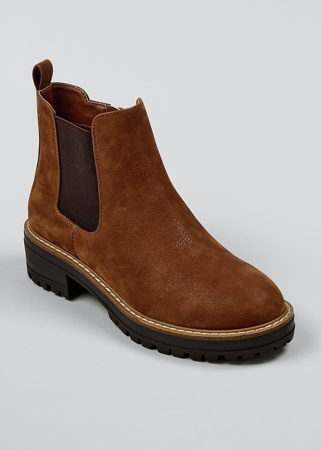 Brown Chunky Sole Chelsea Cleated Boots