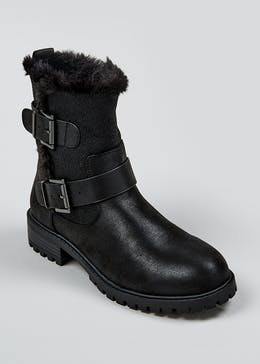 Black Faux Fur Biker Boots