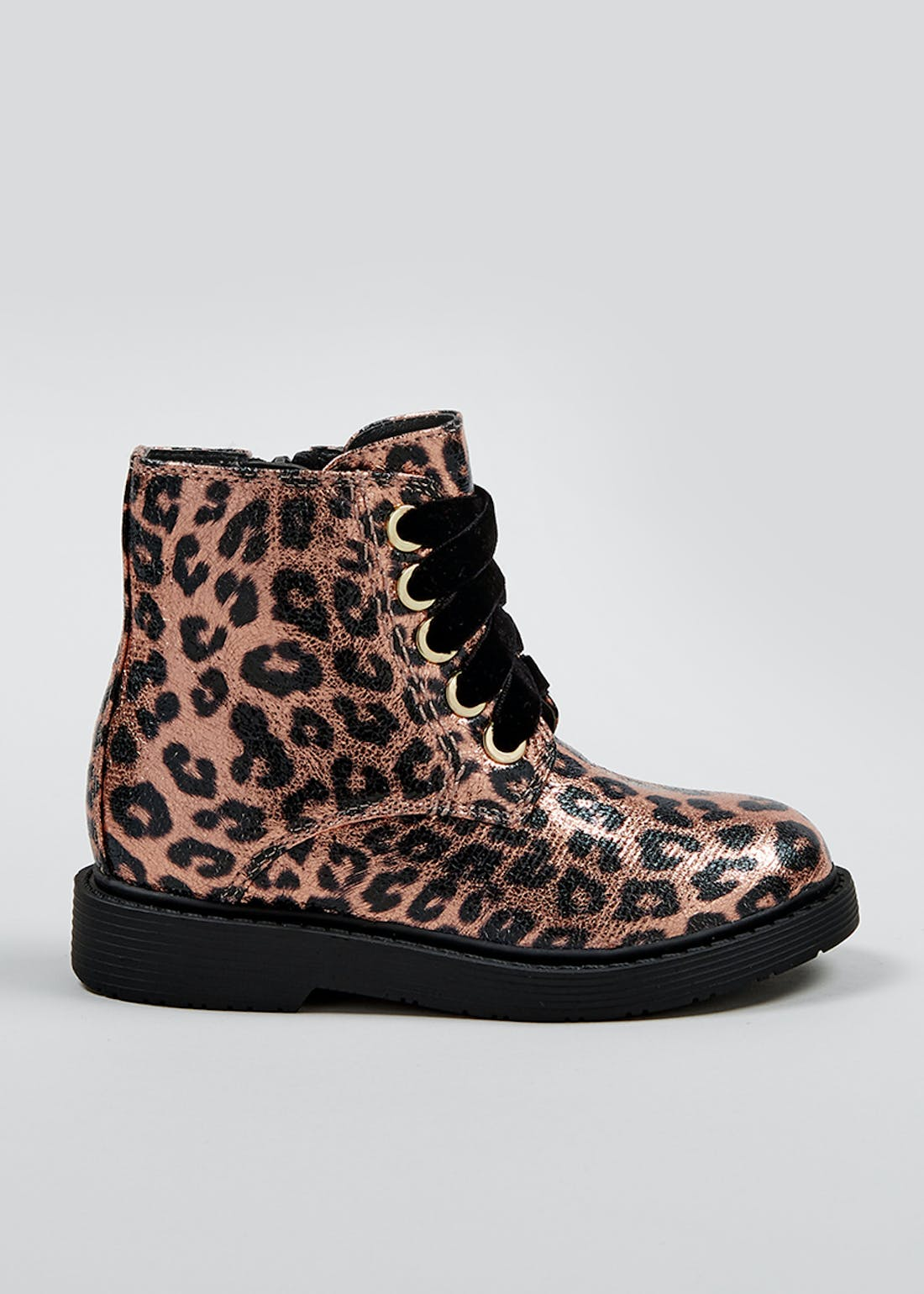 Girls Leopard Print Grunge Boots (Younger 4-12)