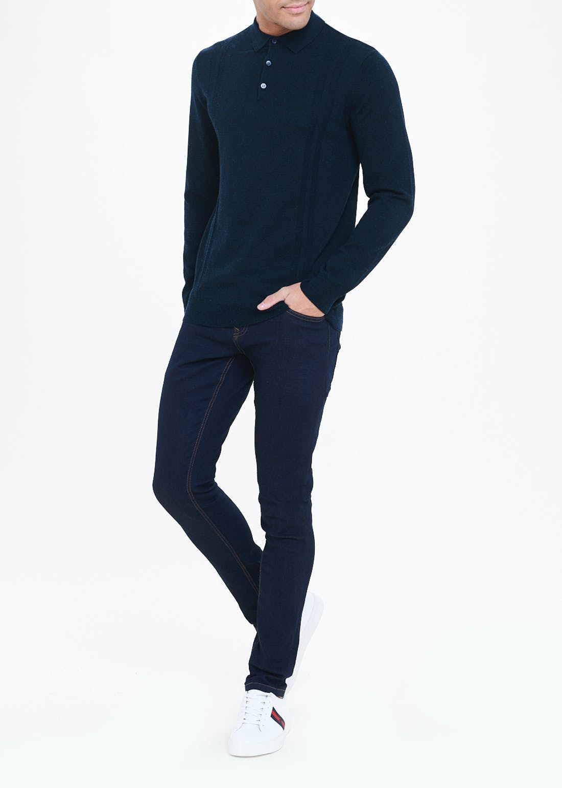 Long Sleeve Smart Knitted Polo Shirt