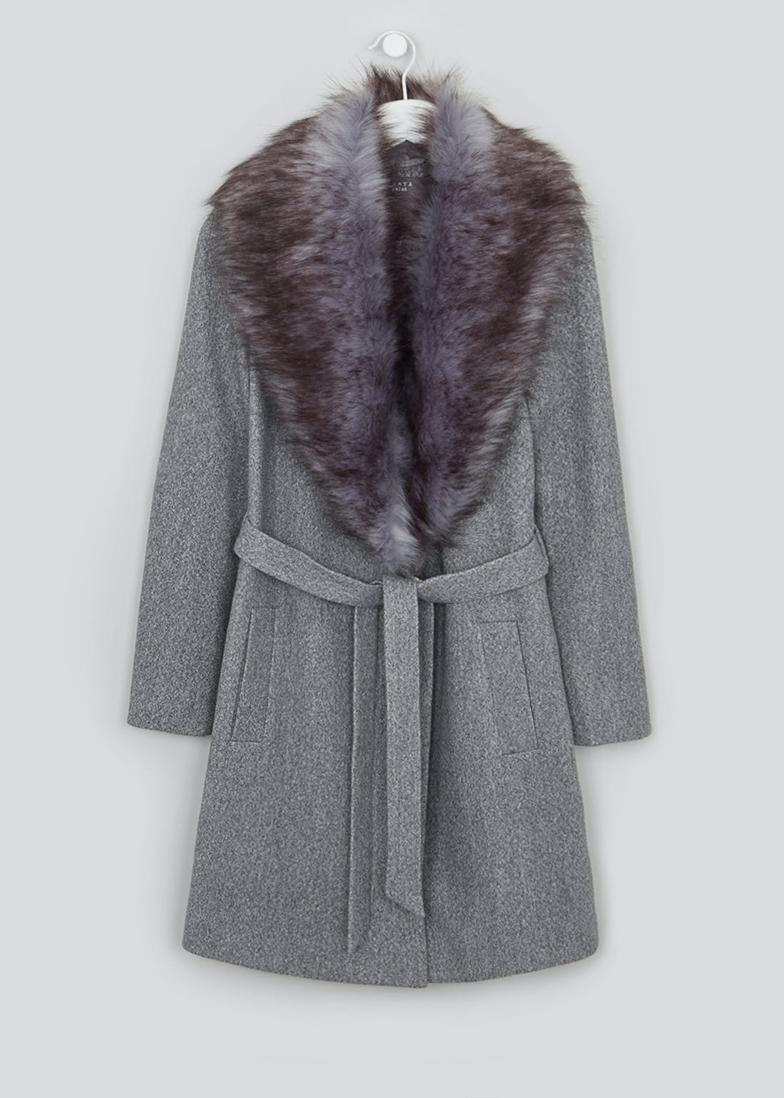Grey Faux Fur Collar Belted Coat