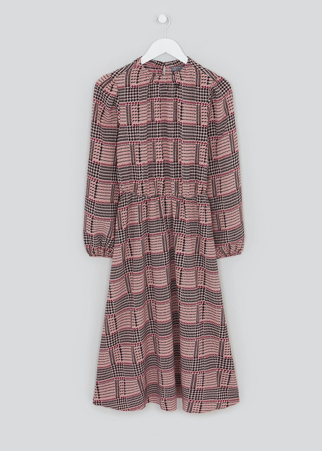 Long Sleeve Check Midi Dress