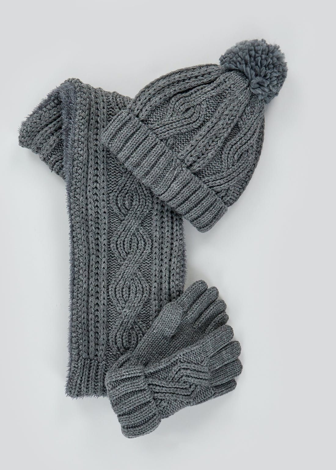 Kids Cable Knit Hat Scarf & Gloves Set (3-13yrs)