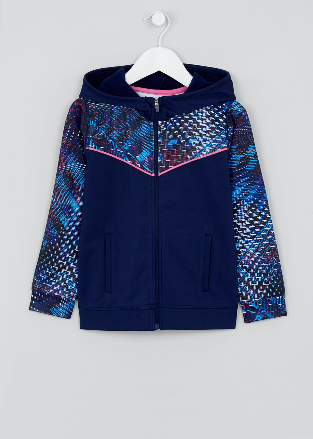 Girls Souluxe Blue Dash Print Sports Hoodie (4-13yrs)