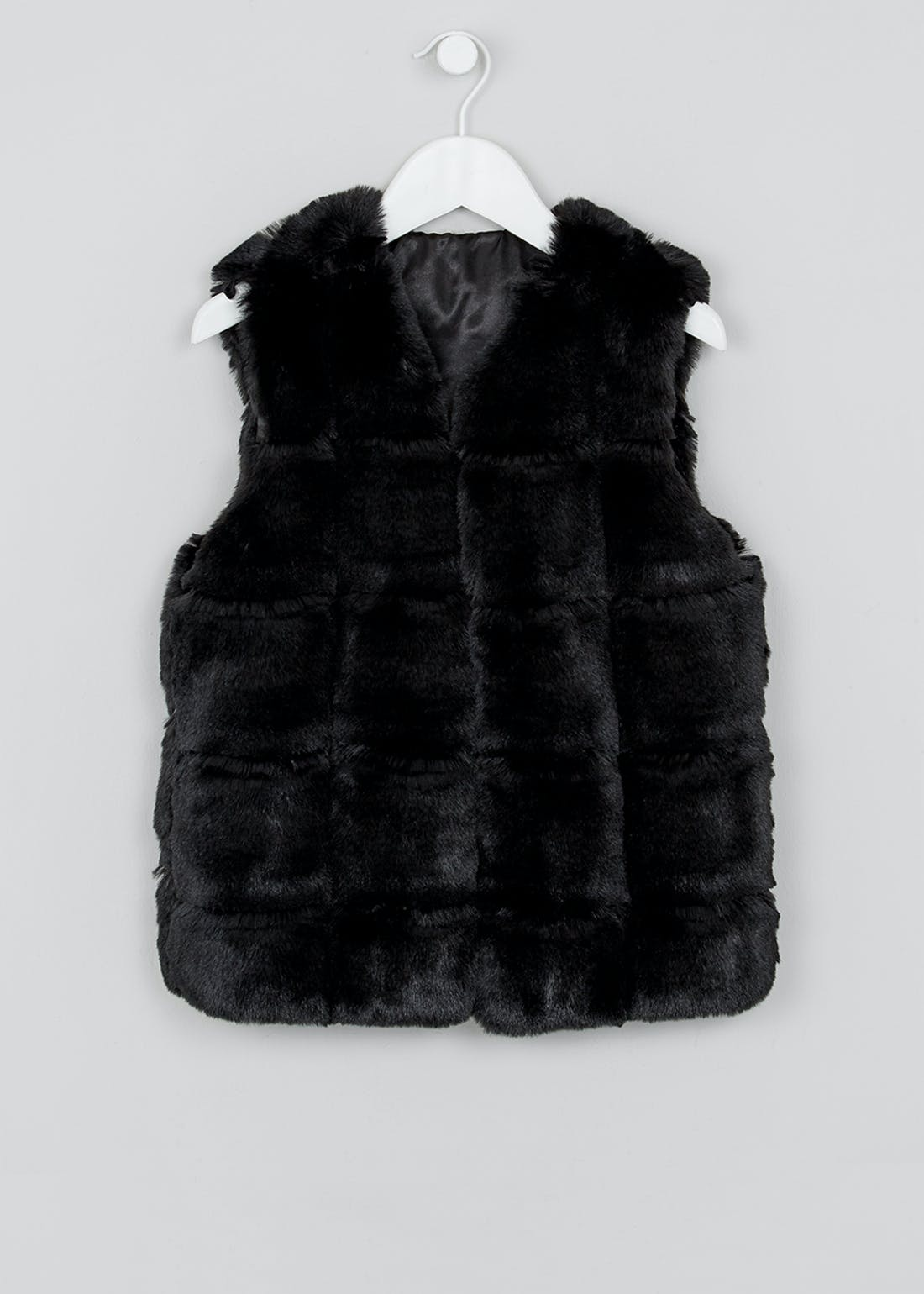Girls Candy Couture Black Faux Fur Gilet (9-16yrs)