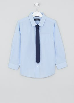 Boys Long Sleeve Shirt & Tie Set (4-13yrs)