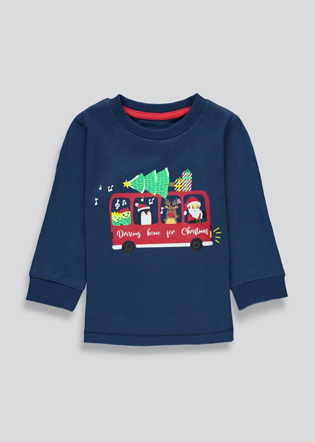 Boys Long Sleeve Christmas Bus T-Shirt (9mths-6yrs)