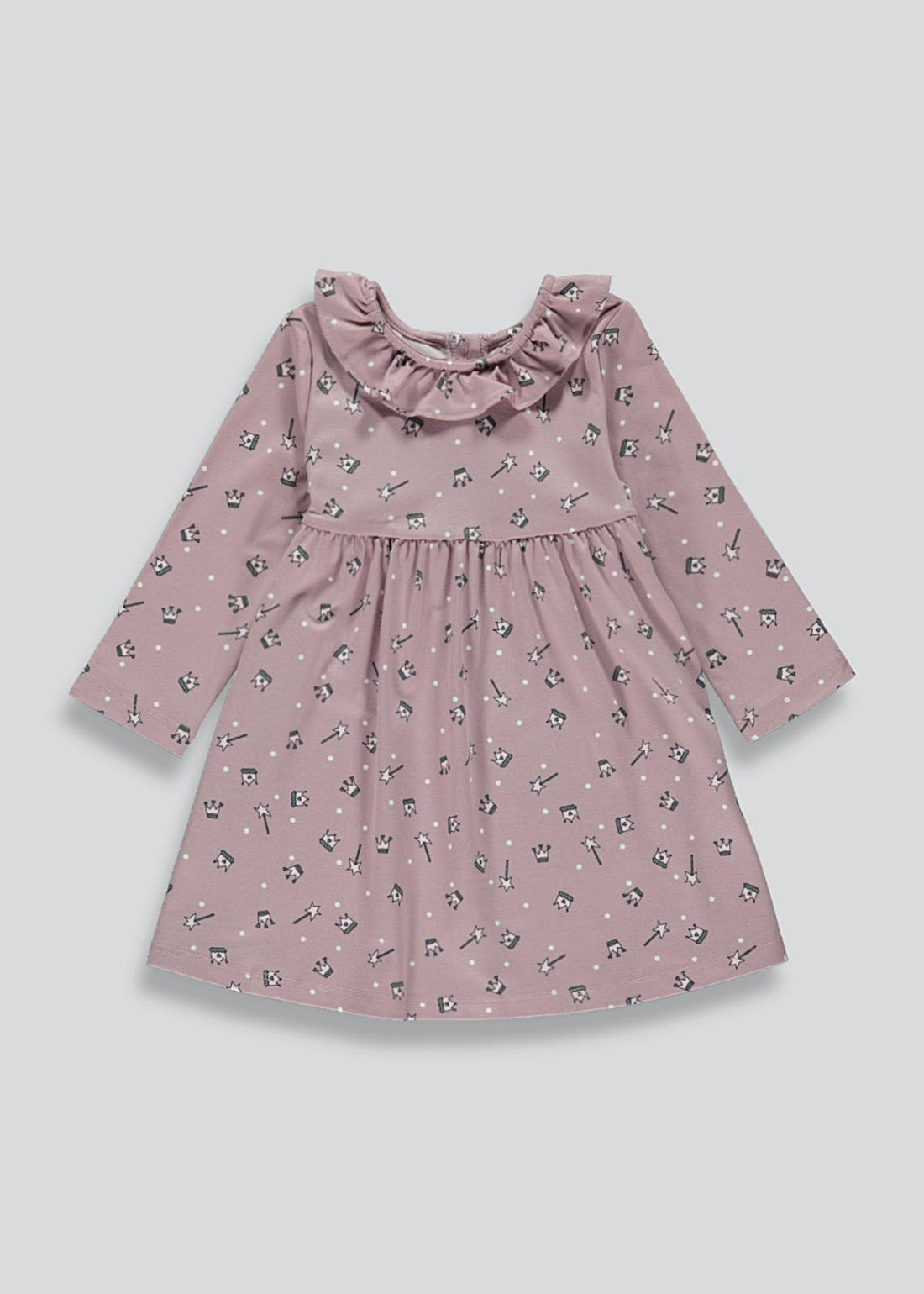 Girls Long Sleeve Crown Print Dress (9mths-6yrs)