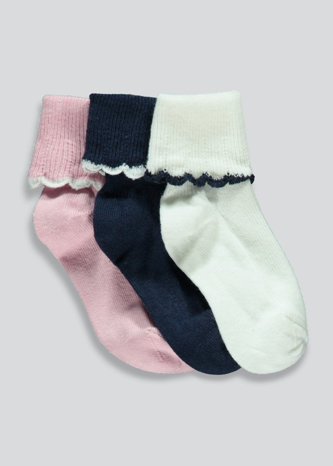 Girls 3 Pack Scallop Socks (Newborn-12mths)