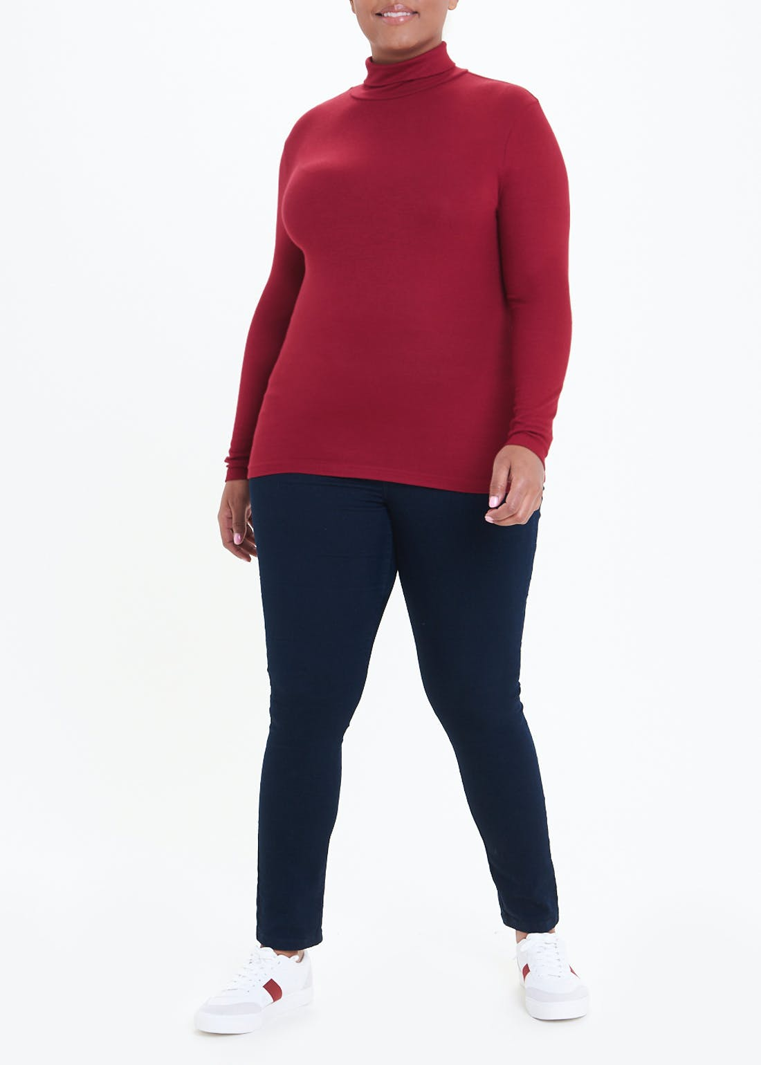 Papaya Curve Roll Neck Top