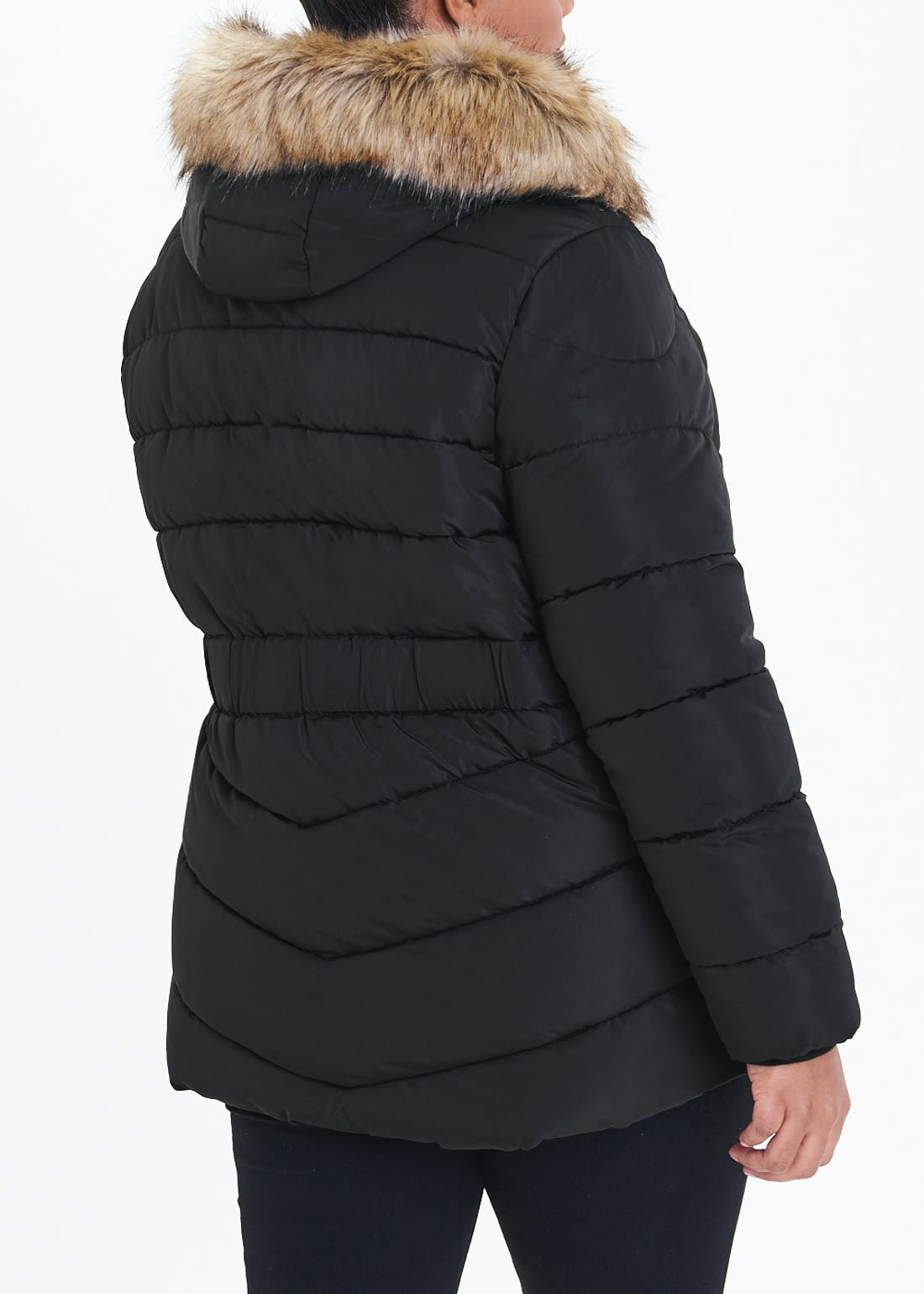 Papaya Curve Black Faux Fur Hood Padded Jacket