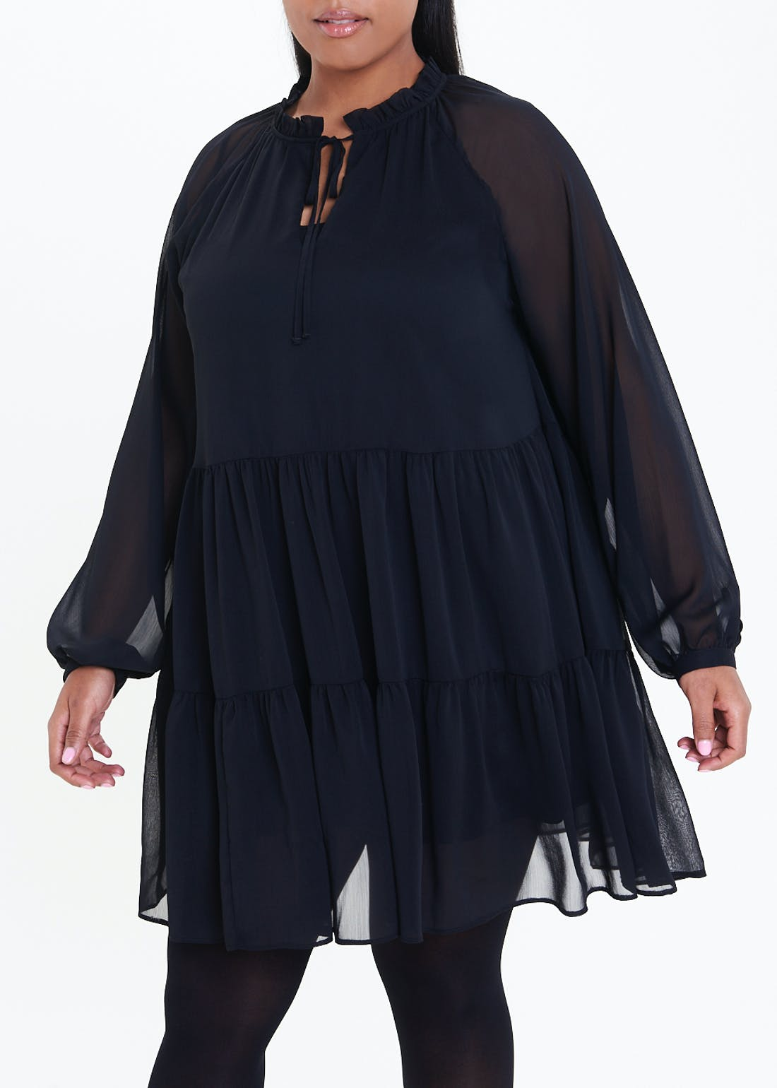 Papaya Curve Black Long Sleeve Chiffon Tunic Dress