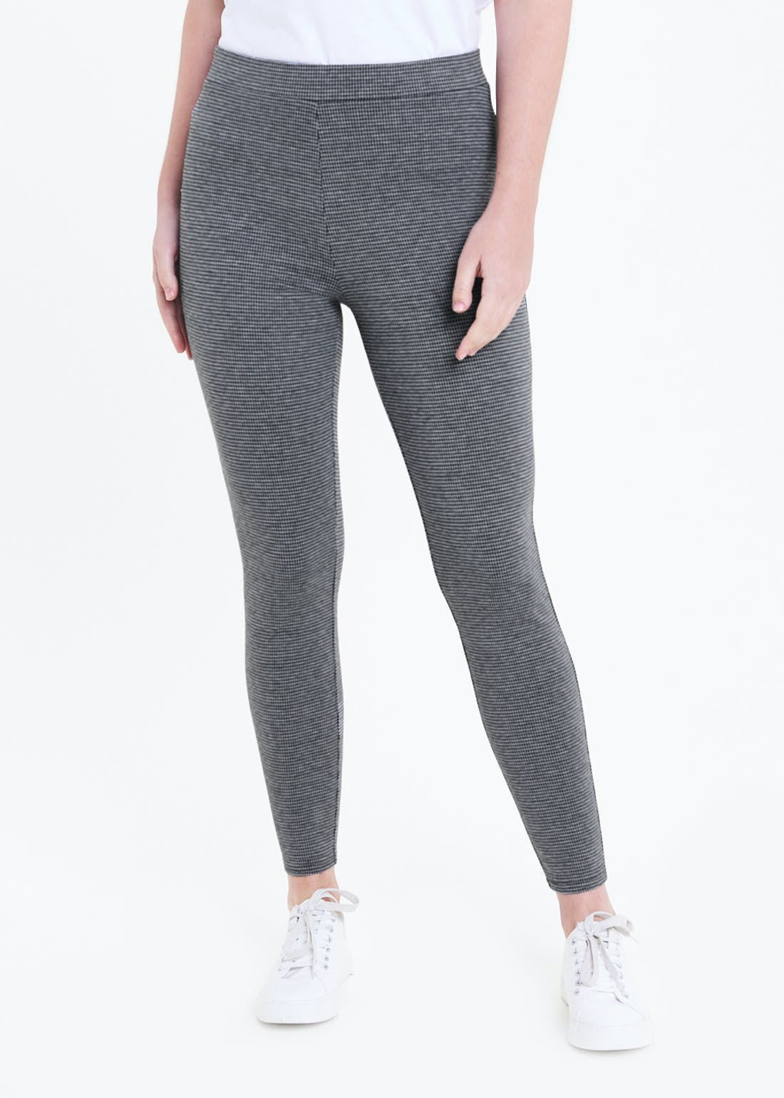 Check Textured Leggings