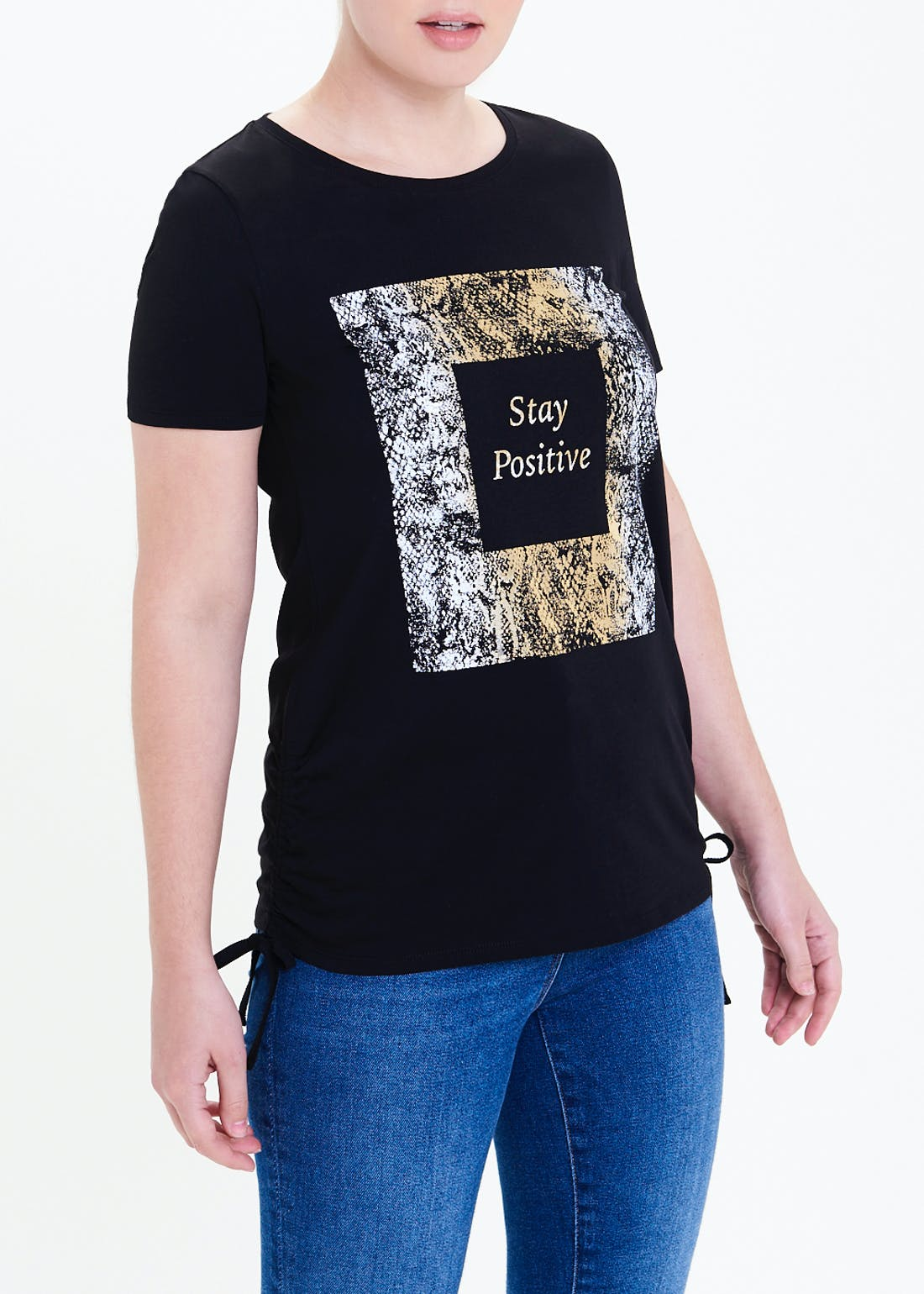 Ruched Side Stay Positive Slogan T-Shirt