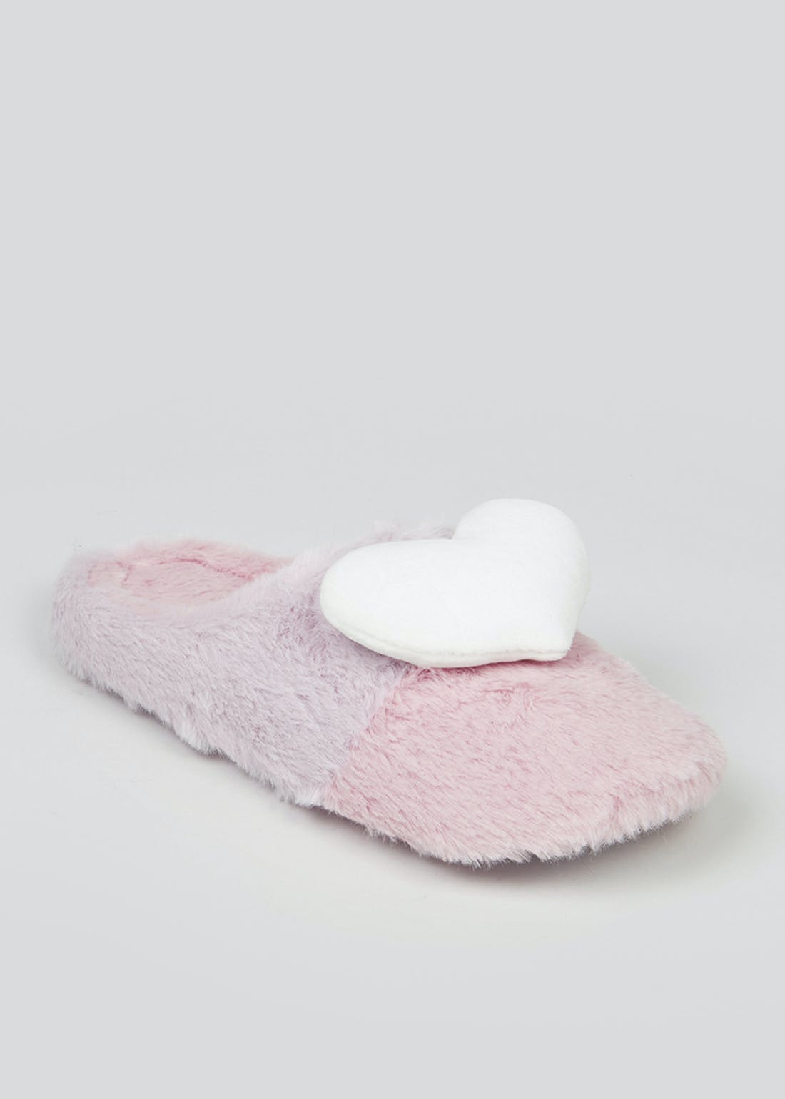 Heart Faux Fur Mule Slippers