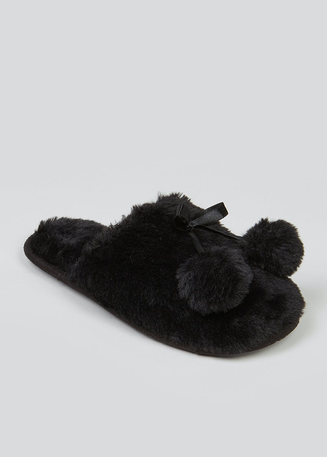 Black Fluffy Pom Pom Slippers
