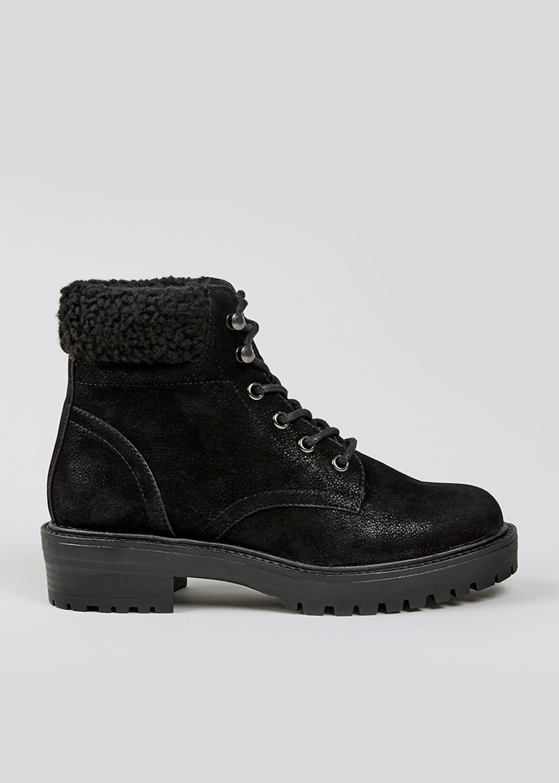 Black Borg Detail Lace Up Ankle Boots
