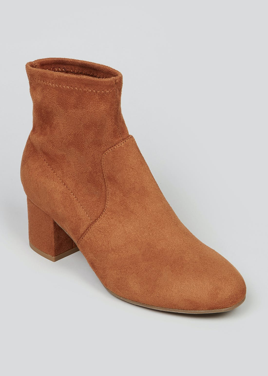 Tan Block Heel Sock Boots