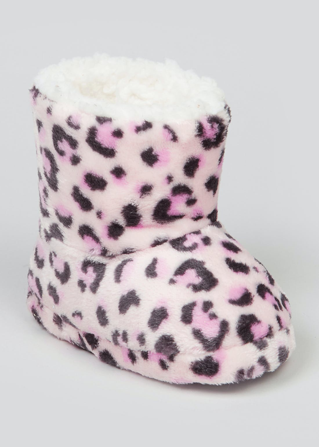 Girls Fluffy Leopard Print Slipper Boots (Younger 4-12)