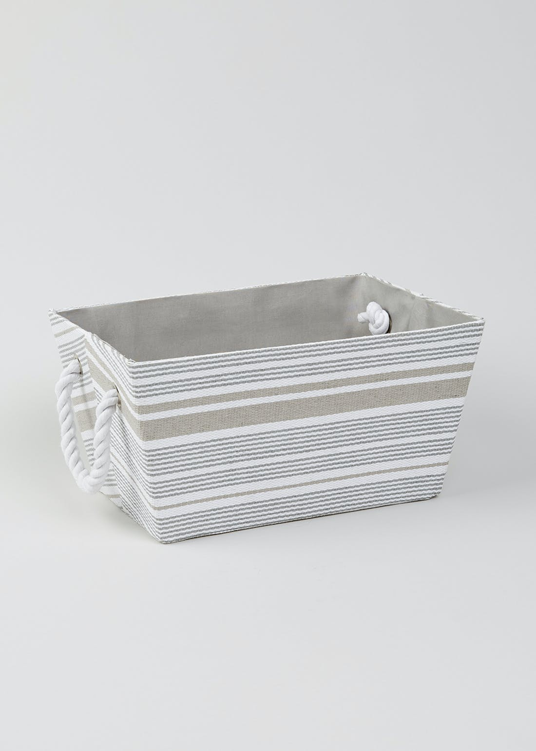 Stripe Rope Handle Fabric Storage Tray
