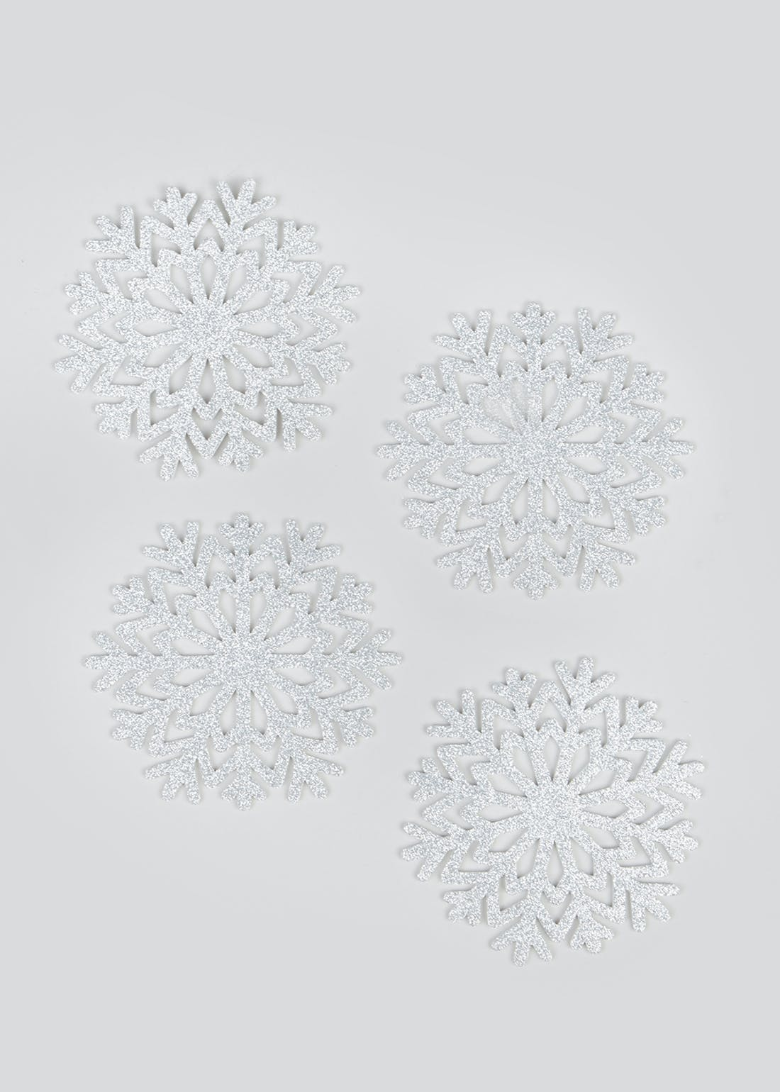 4 Pack Glitter Snowflake Christmas Coasters (12cm)