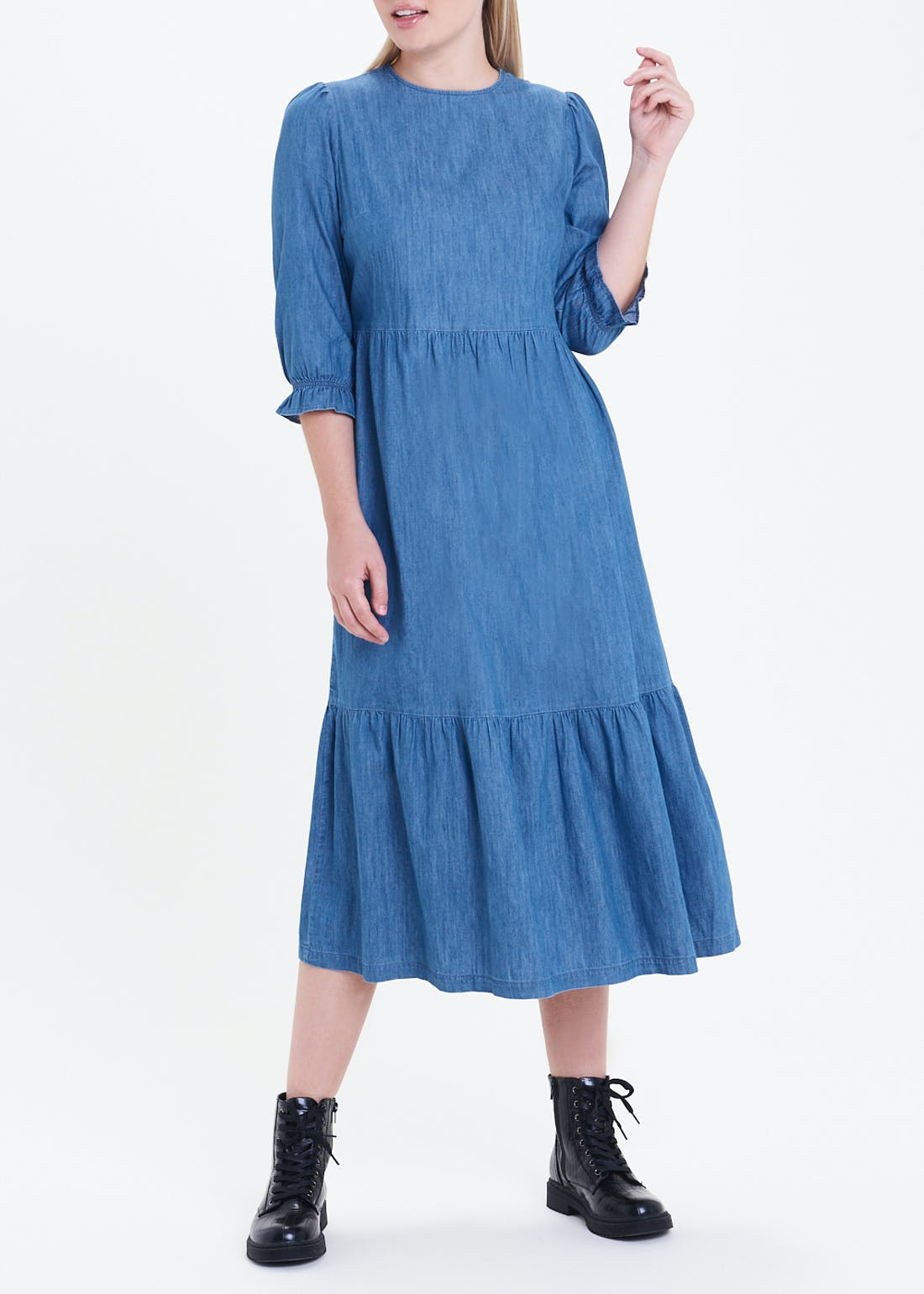 3/4 Sleeve Tiered Denim Midi Dress