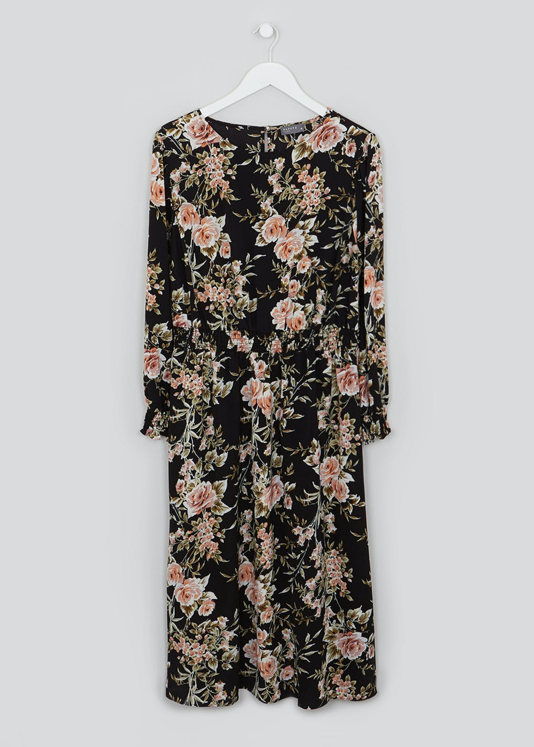Papaya Curve Long Sleeve Floral Midi Dress
