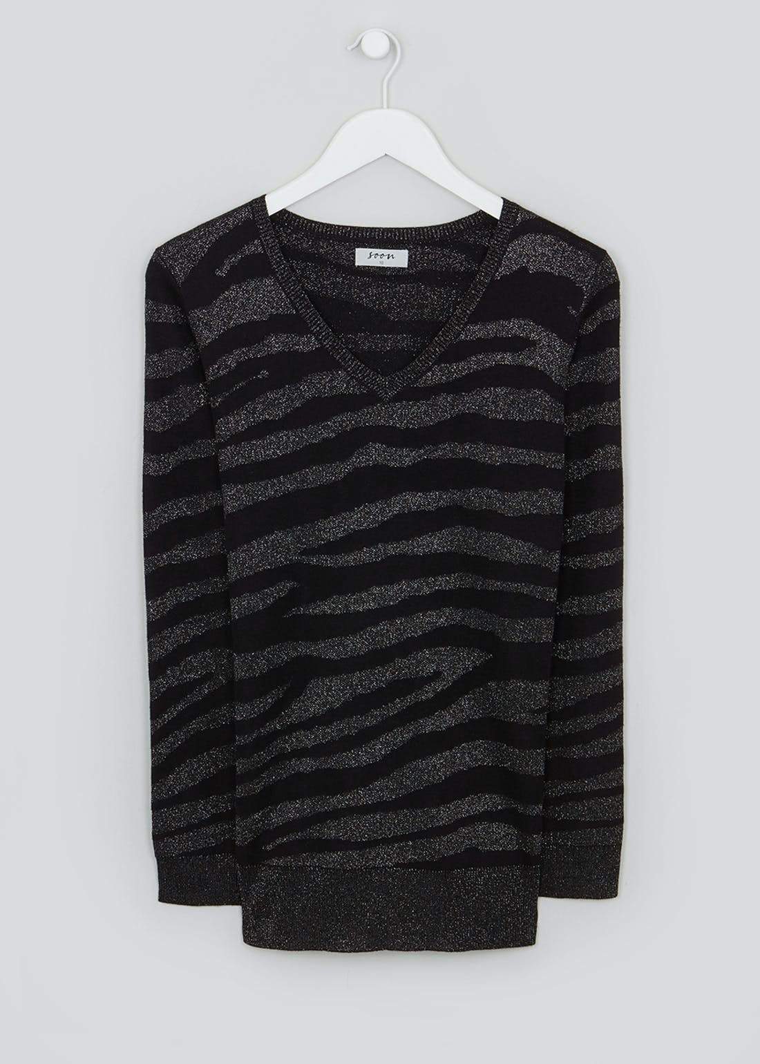 Soon Glitter Animal Print Jumper