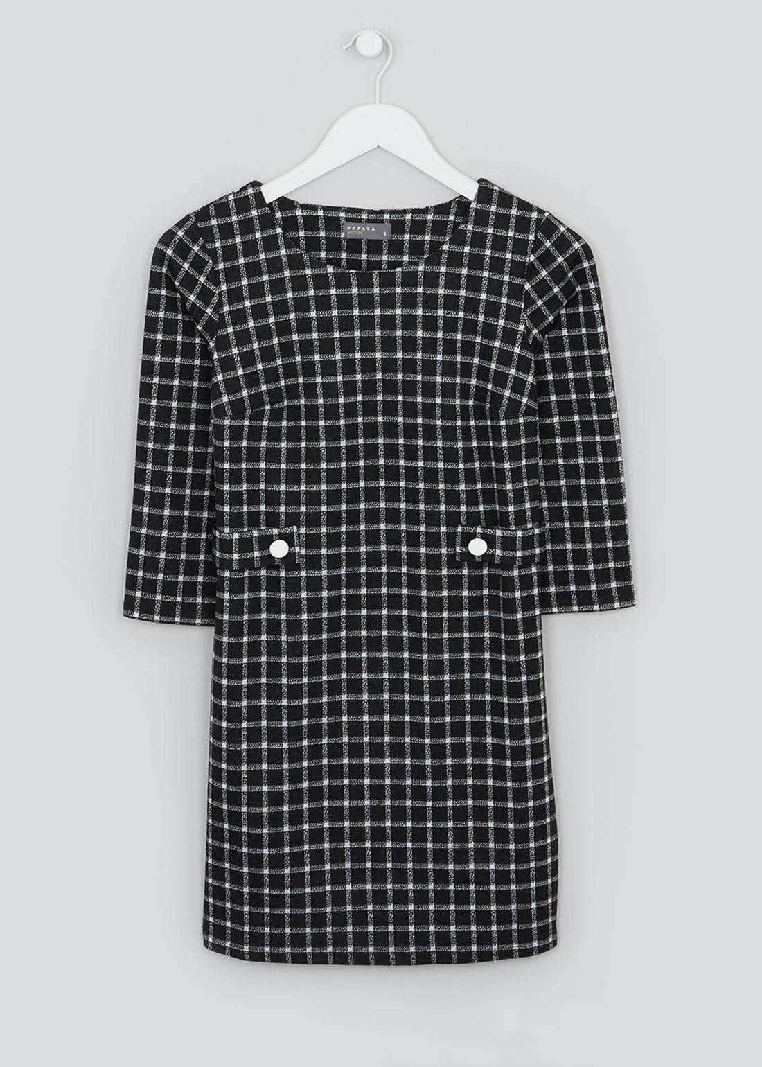Papaya Petite Black 3/4 Sleeve Check Ponte Shift Dress
