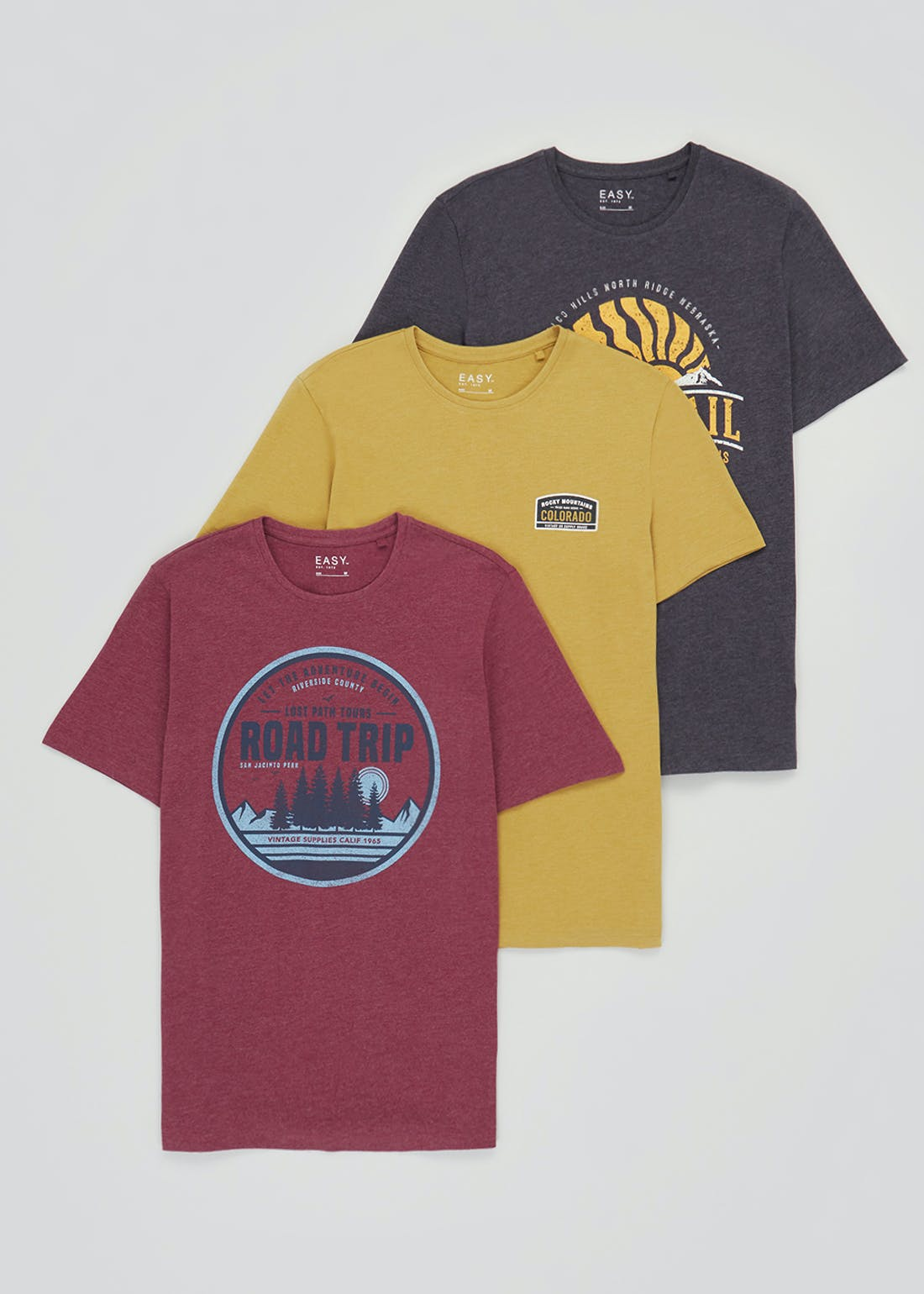 3 Pack Printed T-Shirts
