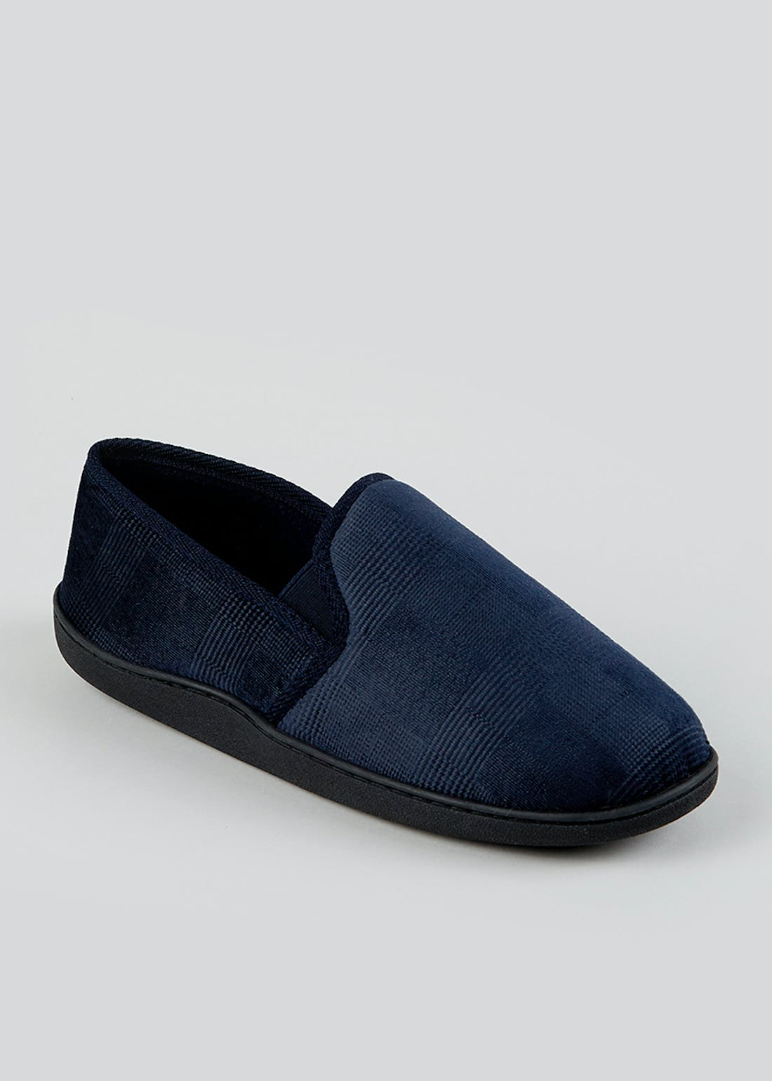 Navy Real Suede Moccasin Slippers
