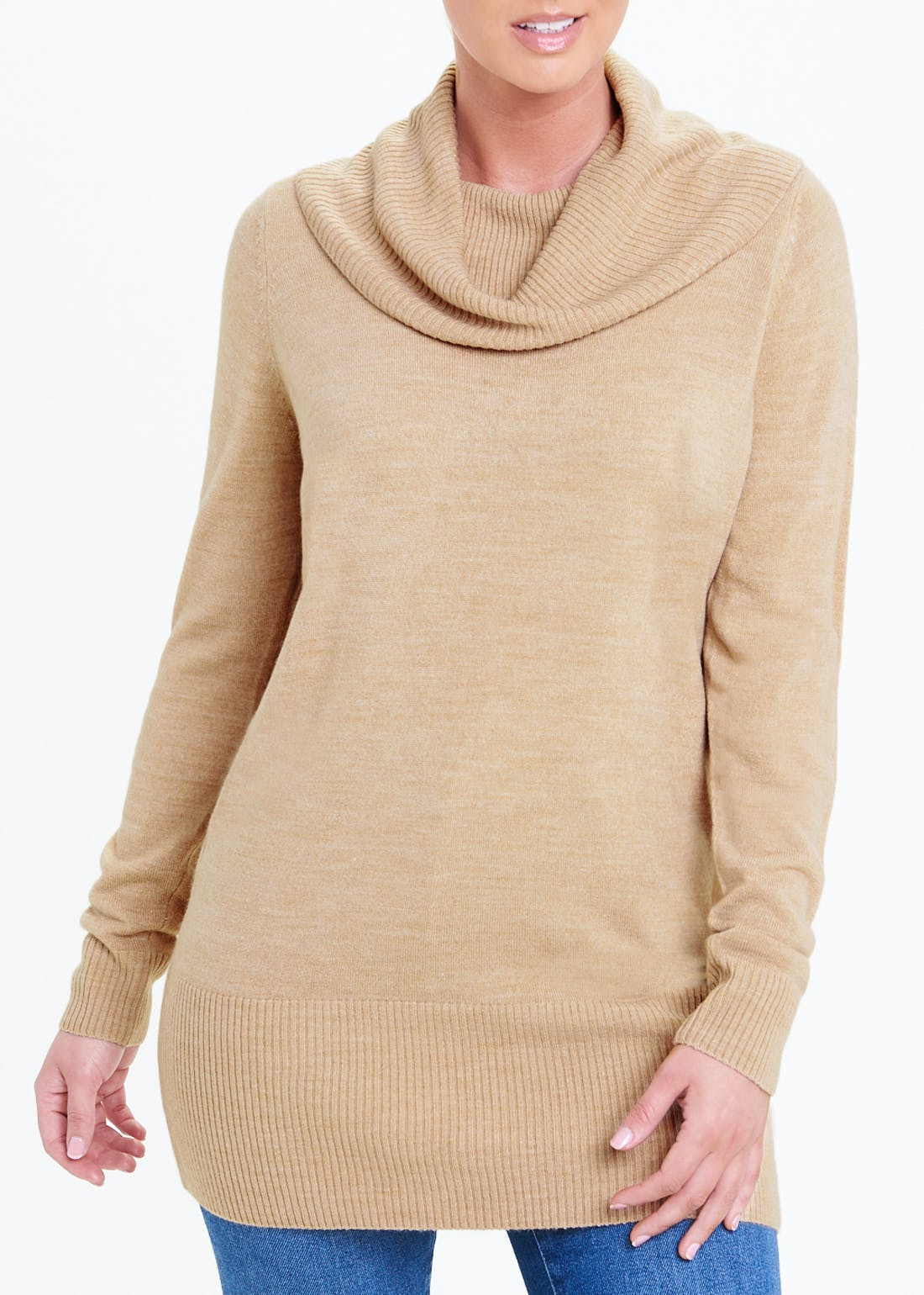 Super Soft Cowl Neck Tunic Jumper